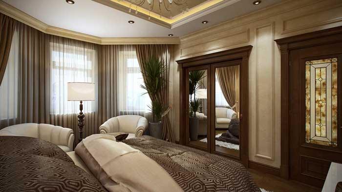 Дизайн спальни в классическом стиле со встроенным шкафом с зеркальными створками