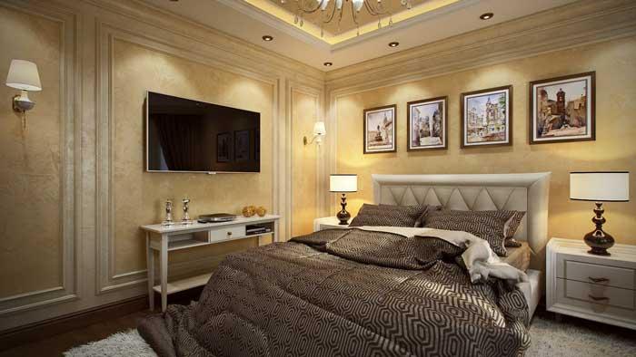 Классический дизайн спальни. Отделка стен виниловыми обоями