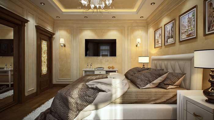 Спальня в классическом стиле с паркетным полом с светлыми стенами
