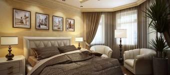 Спальня в классическом стиле с большим окном и картинами на стене