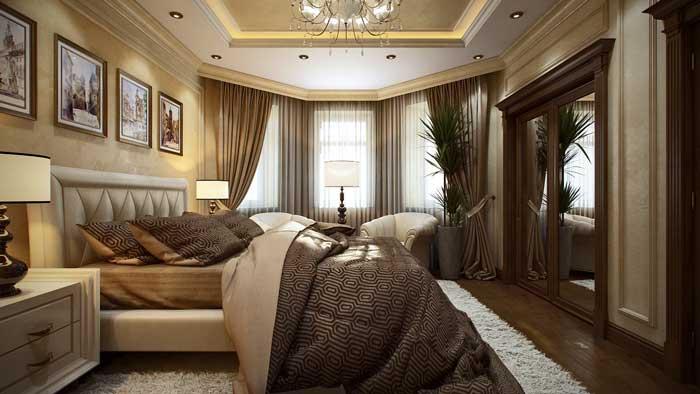Оформление спальни в классическом стиле. Подвесной потолок с точечными светильниками