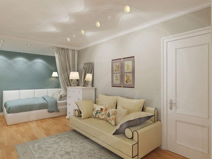 Дизайн интерьера гостиной, совмещенной со спальней. Точечные светильники