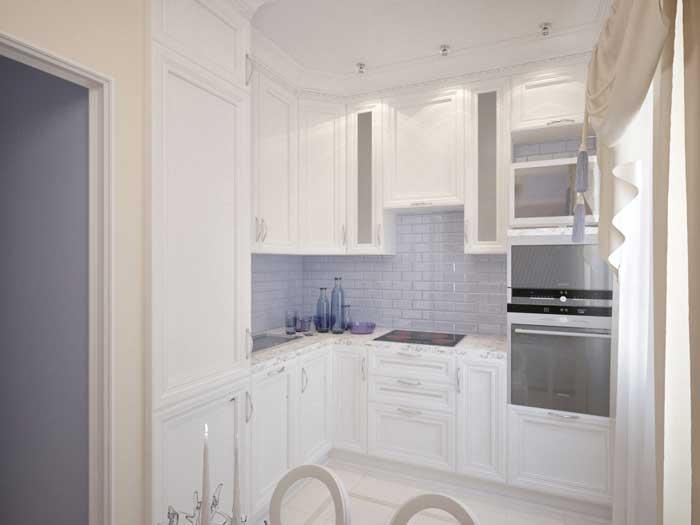 Кухня в маленькой квартире. Светлые тона. Встраиваемая кухонная техника