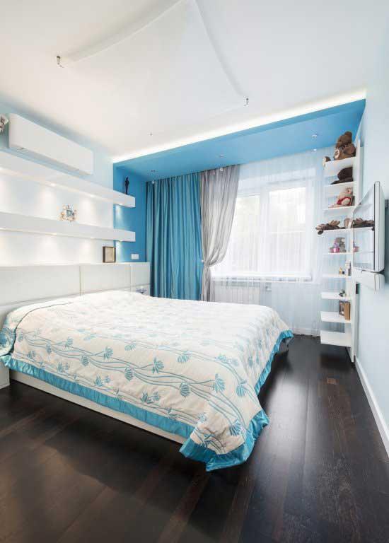 Дизайн штор для спальни. голубые шторы для спальни 2014