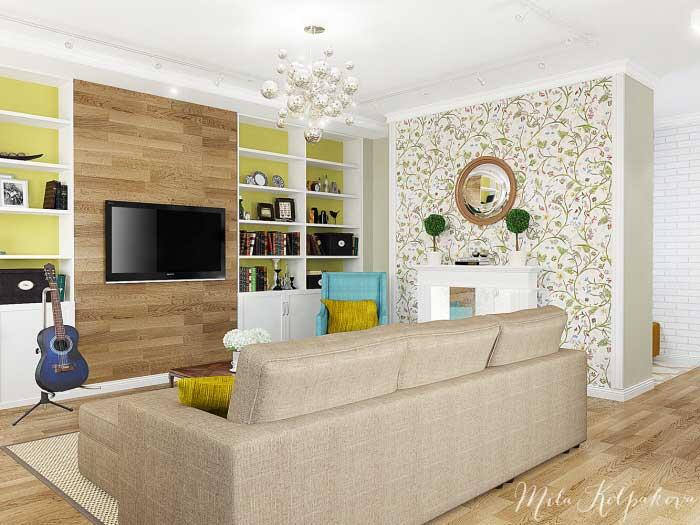 Интерьер гостиной совмещенной с кухней. Бюджетный вариант
