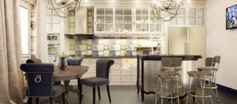 Оформление гостиной совмещенной с кухней. Дизайн кухни с барной стойкой