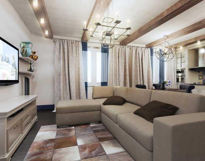 Угловой диван в интерьере гостиной. Светлые плотные шторы в гостиной