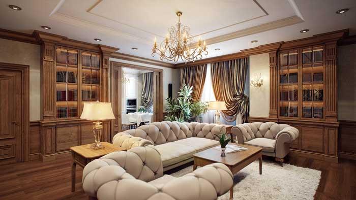 Интерьер гостиной в классическом стиле с белым камином