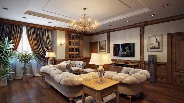 Гостиная с кожаными диванами молочного цвета напротив ТВ панели