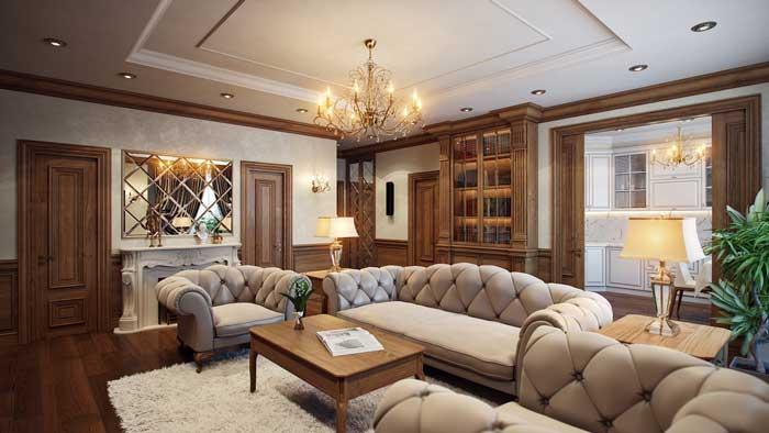 Дизайн интерьера большой гостиной на полу дубовый паркет, стены отделаны дубовыми панелями