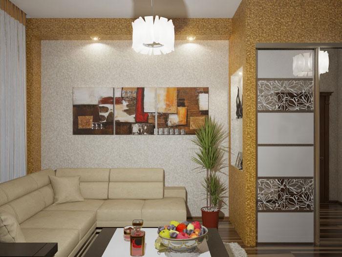 Решение для оформления маленькой гостиной. Ниша из гипсокартона