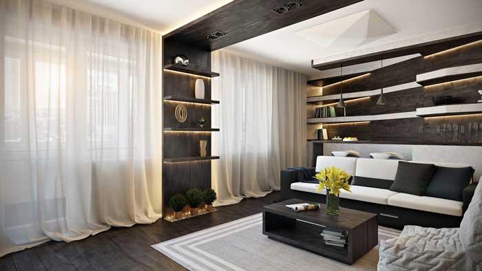 Интерьер гостиной, совмещенной с кухней в современном стиле