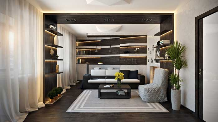 Современный интерьер гостиной с барной стойкой в белых тонах