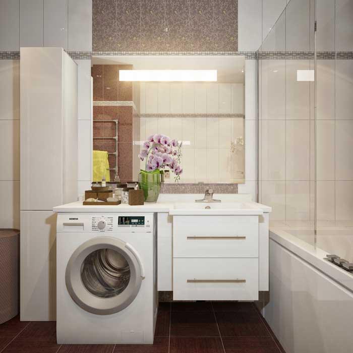 Дизайн проект коричневой ванной комнаты со встроенной мебелью