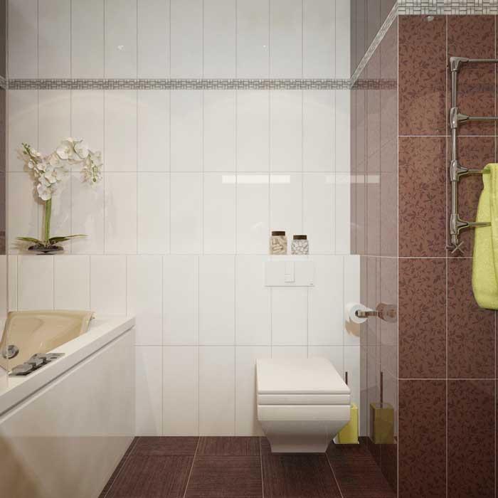 Декор ванной. Сочетание плитка коричневого и белого цвета