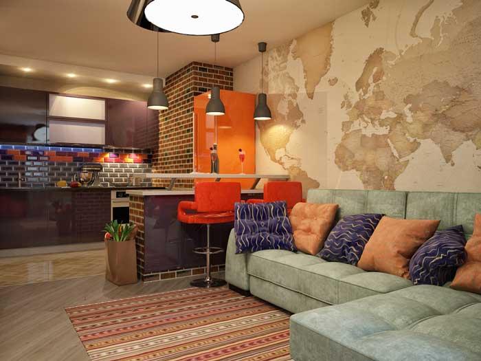 Дизайн квартиры 30 кв.м. Однокомнатная студия