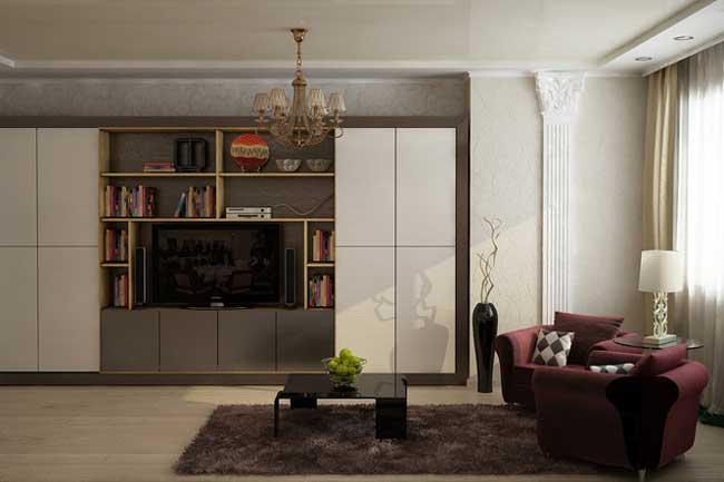 Гостиная. Вишневая мебель и журнальный столик. Светлая корпусная мебель