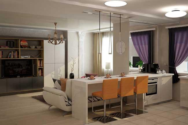 Кухня гостиная с барной стойкой. Оранжевые стулья. Оформление окна