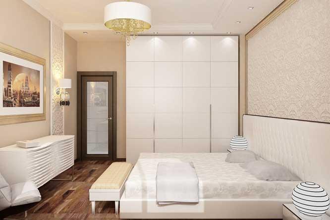 Современная светлая спальня. Отделка стен декоративной штукатуркой.