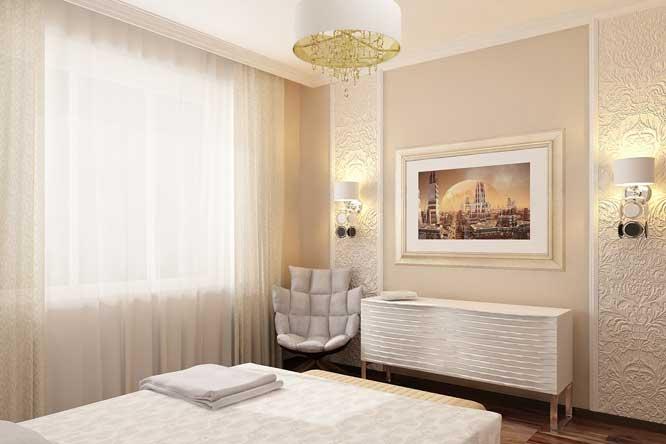 Декорирование стен в спальне картиной. Белый комод в спальне.