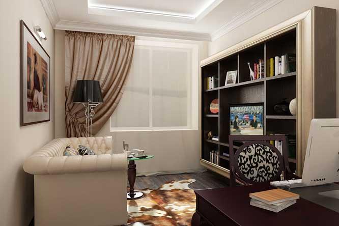 Дизайн интерьера кабинета в квартире. Кожаный диван в кабинете.Шкура животного на полу
