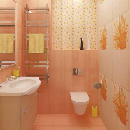 Стильный Совмещенный санузел персикового цвета. Стены и пол отделаны плиткой