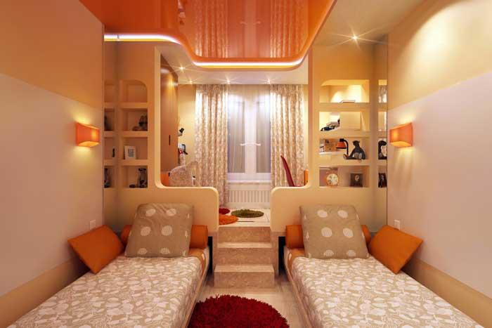 Детская комната с подиумом. Оригинальное оформление