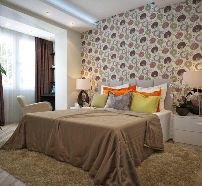 Комбинирование обоев в маленькой спальне. Дизайн интерьера