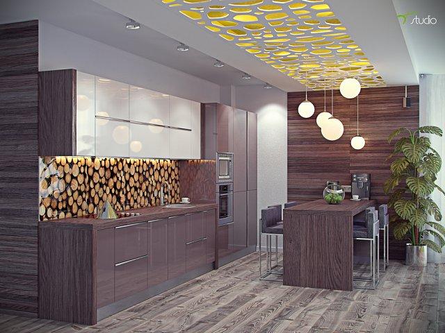 Кухня совмещенная с гостиной отделанная деревом, стеклянный фартук