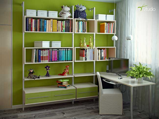 Рабочее место и шкаф для книг в комнате для девочек в экостиле