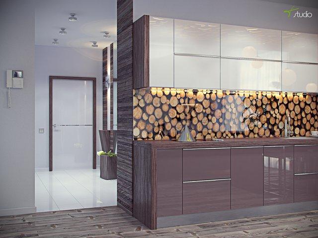 Дизайн кухни в экостиле стеклянный фартук на полу дубовый паркет