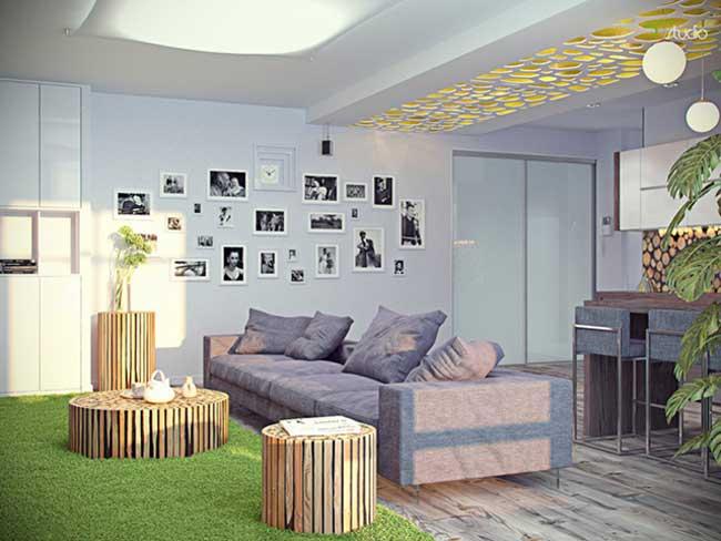 Интерьер гостиной совмещенной с кухней подвесной гипсокартонный потолок