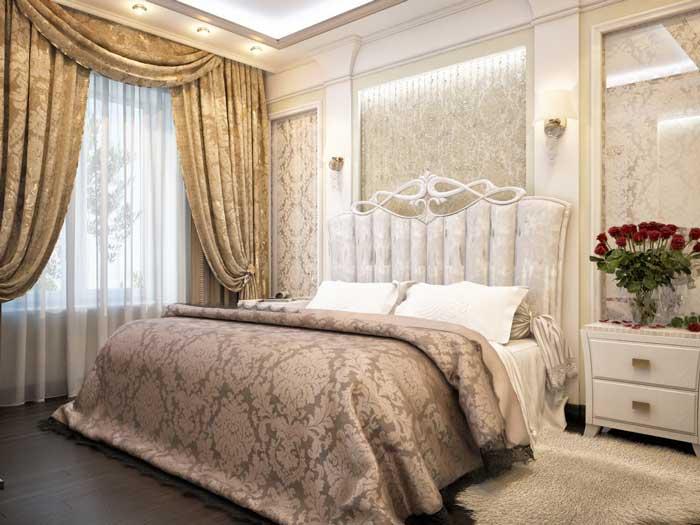 Ремонт спальни в классическом стиле. Площадь спальни 17 квадратных метров