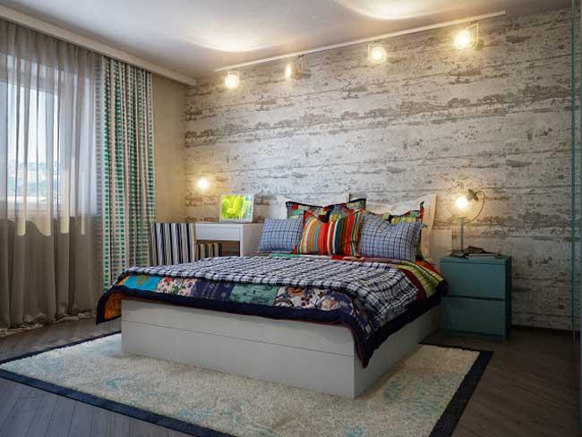 Оформление стен в спальне. Комбинированные обои. Большой белый ковер
