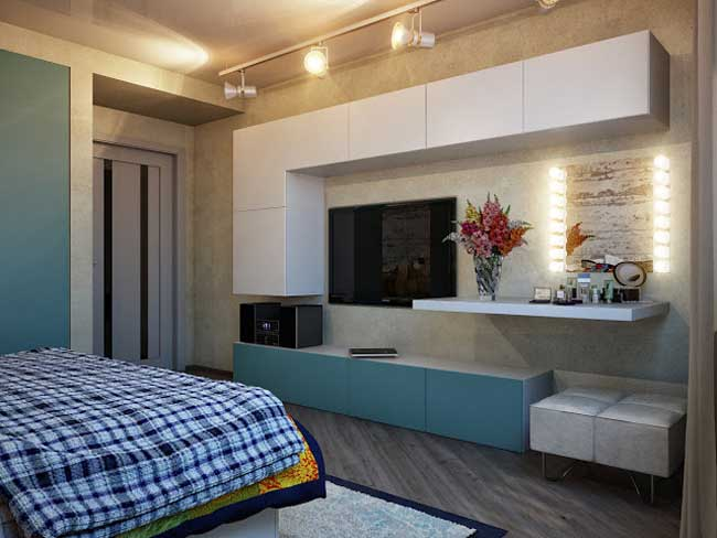 Отделка спальни. Навесные шкафы. Натяжной потолок