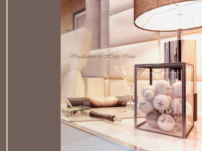 Дизайн спальни с подиумом. Бежевая спальня