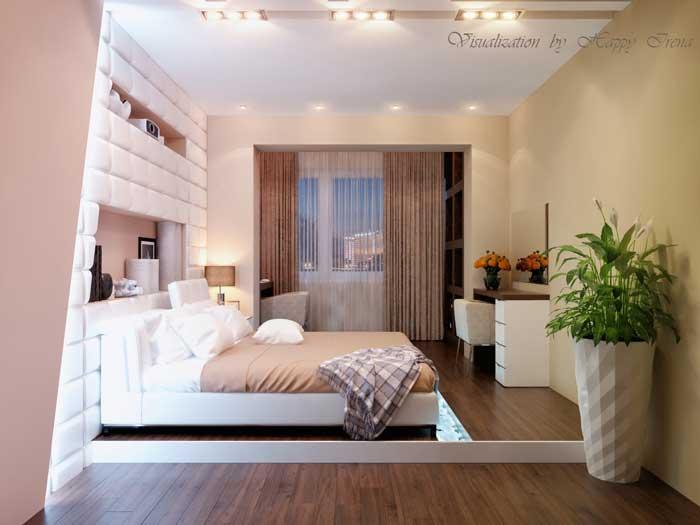 Спальня после дизайнерского ремонта в Москве. Отделка стен штукатуркой под покраску