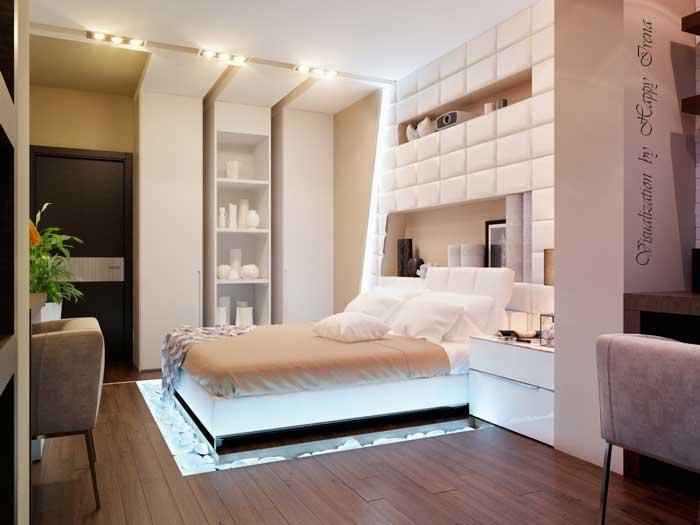 Интерьер светлой большой спальни. Белый натяжной потолок. Шкаф из гипсокартона
