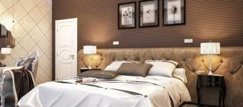 Классический интерьер спальни. Комбинированные обои разных оттенков