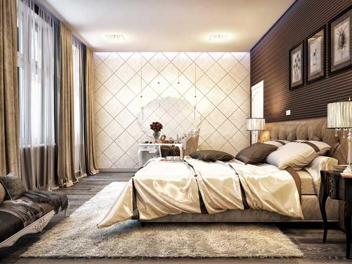 Дизайн обоев в интерьере спальни в классическом стиле