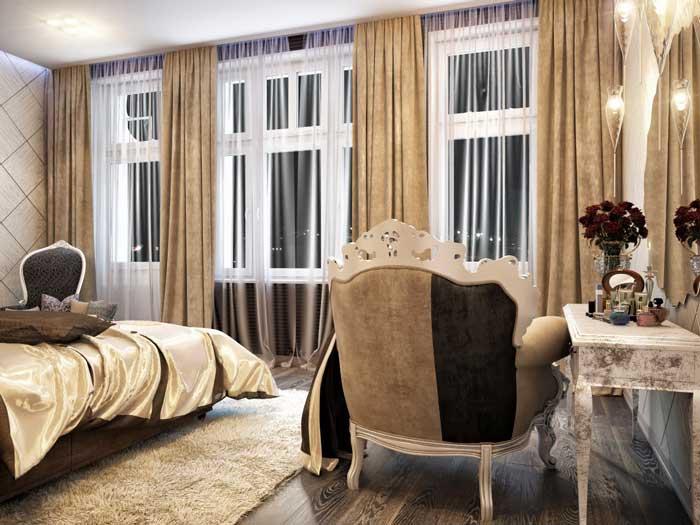 Декорирование мебели в спальне. Белый ковер. Кремовые шторы