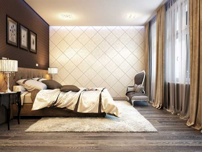 Отделка пола ламинатом в спальне в классическом стиле
