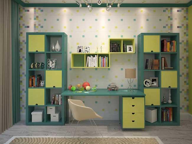 Шкаф в детской зеленого цвета. Фото 12