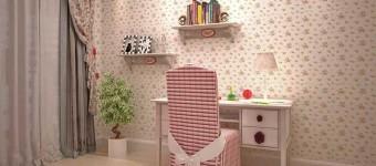 Рабочий стол для девочки в детской комнате. Фото 16