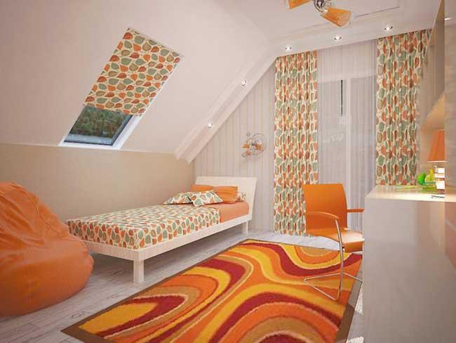 Дизайн небольшой детской спальни оранжевого цвета. Фото 18
