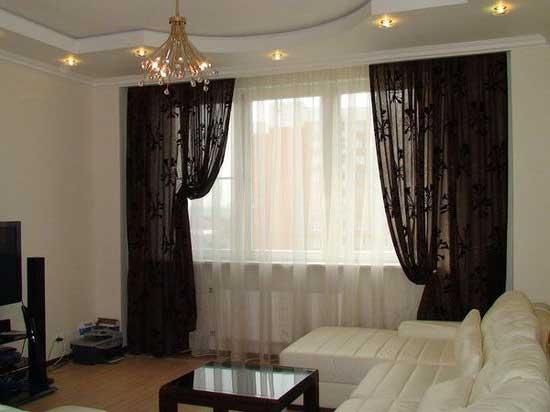 Черные шторы в гостиную комнату. Фото 11