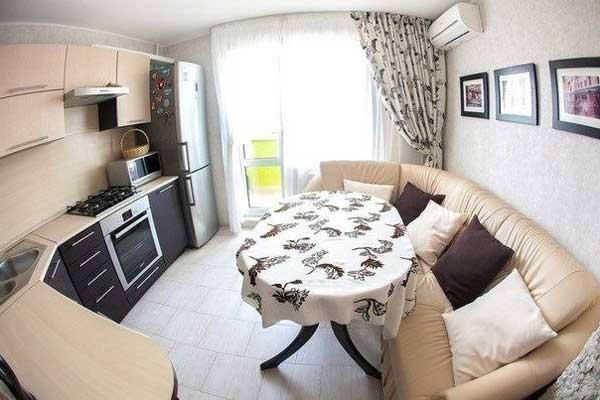 Угловой раскладной диван на кухню из кожи фото 16