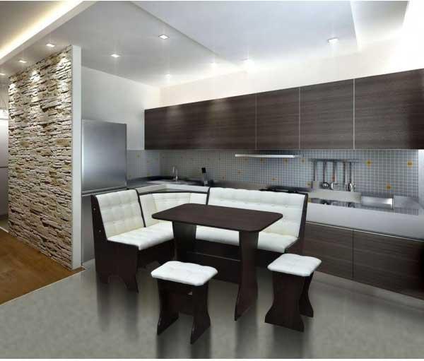Дизайн кухни с диваном фото 10