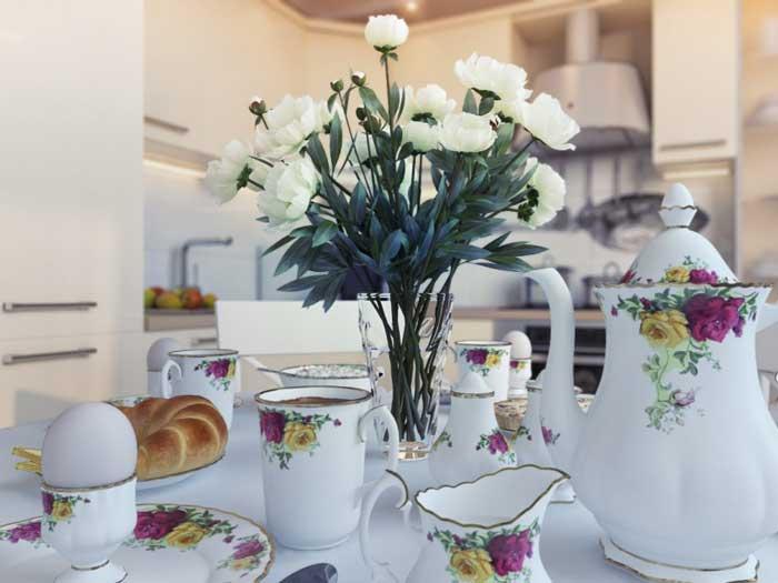 Чайный сервиз. Дизайн белой современной кухни 13 кв. м. Фото 8