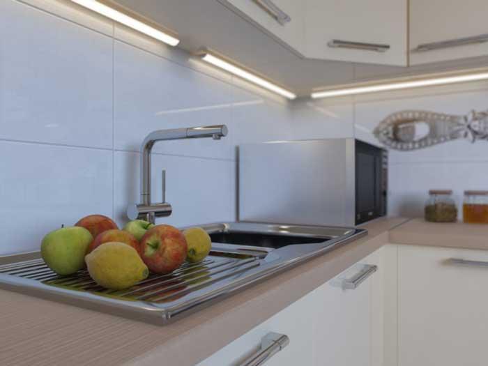 Фартук на кухне из белой плитки. Фото 2